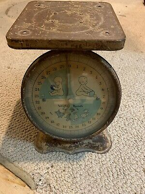 Vintage Antique Mechanical Metal Nursery Baby Scale 30lb Ounces Works