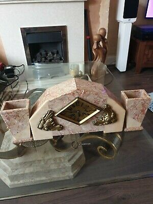 Antique Art Deco Marble 8 Day Chiming Mantle Clock