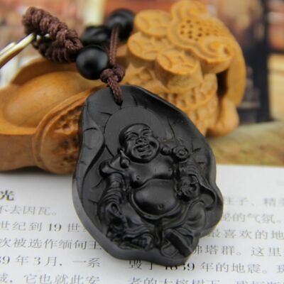 Ebony Wood Carving Chinese Happy Buddha Coin Statue Sculpture QU Key Chain