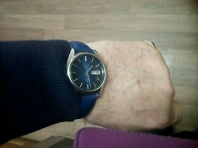 Vintage Gent's Seiko Lordmatic 5606-8060 Blue Dial Day&Date Watch Mint Condition