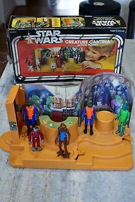 Star Wars Vintage Kenner Creature Cantina Action Playset Box Figures Lot 1970's
