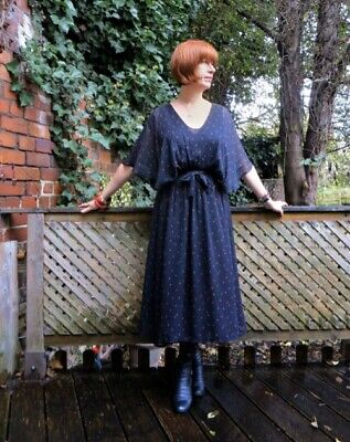 Original vintage 1970s Droopy & Browns black sheer angel sleeve dress, sz 12-14