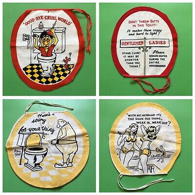 NOS Vintage Novelty Toilet Seat Covers MCM 1950s-1960s 2-Sided His + Hers Set