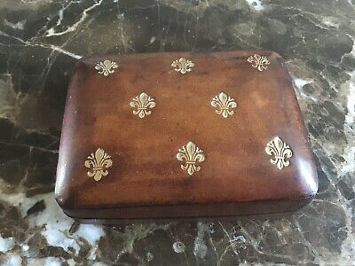 Very Rare Antique Georgian or Victorian Brown Tooled Leather Jewellery Box A/F