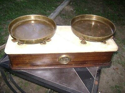 Lot:Antique Apothecary Balance Scale & weights- Wood Base Marble Top brass pans
