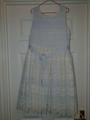 Girls Lilac And White monsoon Dress Age 10 Immaculate Condition