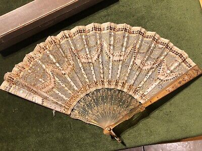 Antique Ladies Fan Gauze and Sequin Hand Held Folding in box.,lovely