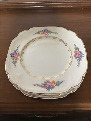 Vintage Homer Laughlin Luncheon / Dessert Plates with Floral Pattern /Gold  (5)