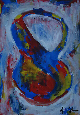 Perfect Abstract Expressionist Unique Painting, signed & stamped, Rare find