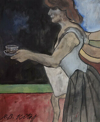 Fine Expressionism unique British painting, listed, Signed