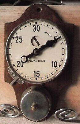 Antique Hanovia Mechanical Kitchen Wall Clock Timer with Alarm.Like a Junghans.