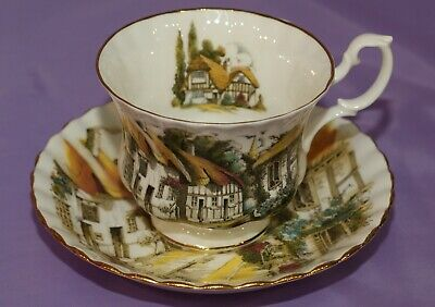 Royal Albert Country Village English Bone China Tea Cup Teacup & And Saucer Duo