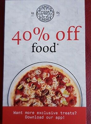Pizza Express 40% Off Food Voucher x 3. Valid until 8/12/2019 but not Fri or Sat
