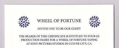 Wheel Of Fortune 4 Production Passes Tickets Show Taping Pat Sajak Vanna White