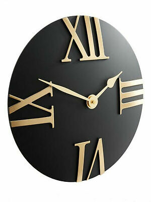 Hometime Black Domed Wall Clock With Large Gold Roman Numeral Dial Gold Hands