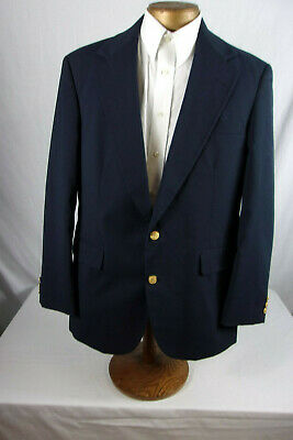 Fantastic 40R Haggar Navy Blue Blazer With Gold Buttons Sp444