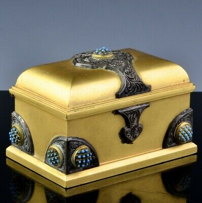 TOP QUALITY c1900 ANTIQUE ENGLISH OR FRENCH GILT BRONZE SILVER STAMP DESK BOX