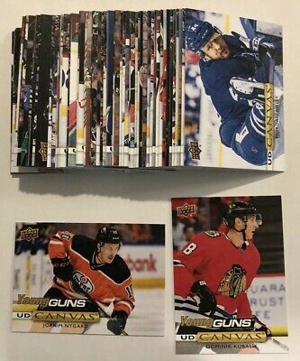 2019-20 Upper Deck Series 1 Canvas Lot - 57 Different Including 2 Young Guns RCs