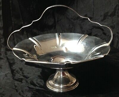 Vintage American Sterling Silver Footed Round Pedestal Bowl With Handle