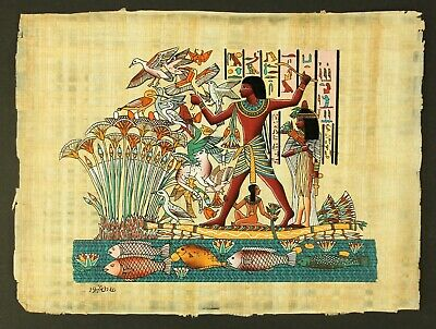 Rare Authentic Hand Painted Ancient Egyptian Papyrus-Hunting in River Nile