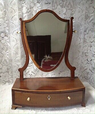 Early 19th Century George 3rd. Shield Shaped Dressing Table Mirror, With Drawer