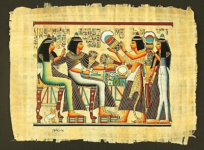 Rare Authentic Hand Painted Ancient Egyptian Papyrus-Marriage Ceremony