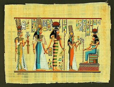 Rare Authentic Hand Painted Ancient Egyptian Papyrus-Goddess Hathor, Isis & Maat