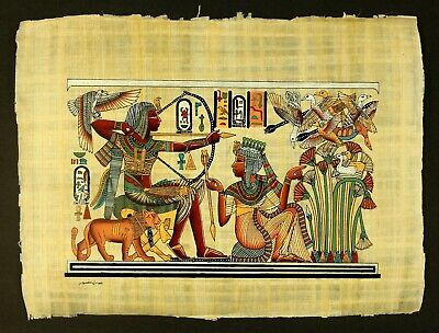 Rare Authentic Hand Painted Ancient Egyptian Papyrus -King Tut & Queen Hunting