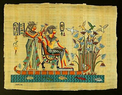 Rare Authentic Hand Painted Ancient Egyptian Papyrus-King tut & wife in a boat