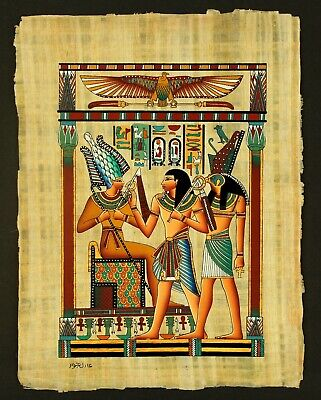 Rare Authentic Hand Painted Ancient Egyptian Papyrus-Osiris, Phr. Seti and Horus