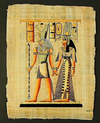Rare Authentic Hand Painted Ancient Egyptian Papyrus-Queen Nefertari and G.Horus