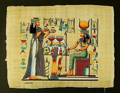 Rare Authentic Hand Painted Ancient Egyptian Papyrus-Queen Nefertari offering
