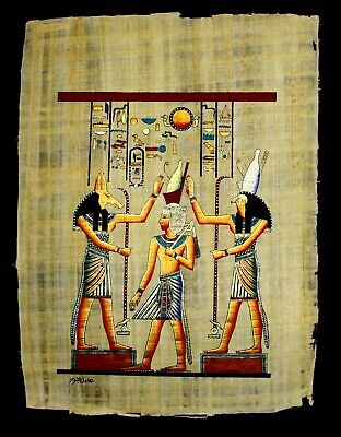 Rare Authentic Hand Painted Ancient Egyptian Papyrus- Crowning of King Ramses