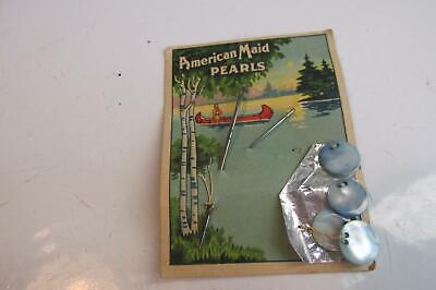 4 American Made  Native Pearls Blue Buttons & 2 Needles & Back Free Ship USA