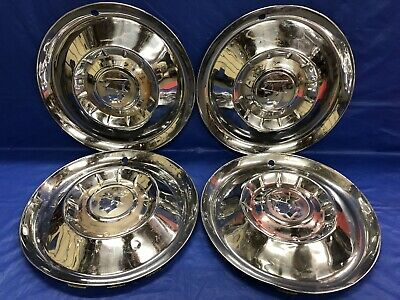 "Vintage Set Of 4 1955 Mercury 15"" Hubcaps Montclair Monterey"