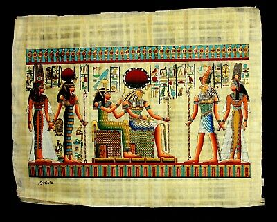 Rare Authentic Hand Painted Ancient Egyptian Papyrus-Nefertari Journey A life