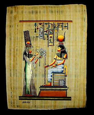 Rare Authentic Hand Painted Ancient Egyptian Papyrus -Queen Nefertari offerings