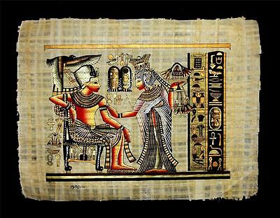 Rare Authentic Hand Painted Ancient Egyptian Papyrus-King Tut in Golden Shrine