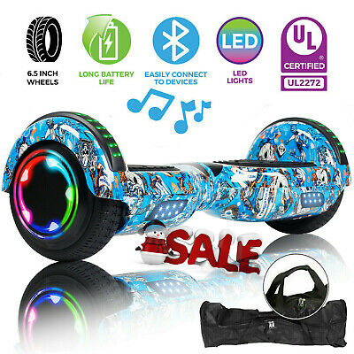 """Bluetooth Hoverboard UL Certified 6.5"""" Self Balancing Electric Scooter With Bag"""