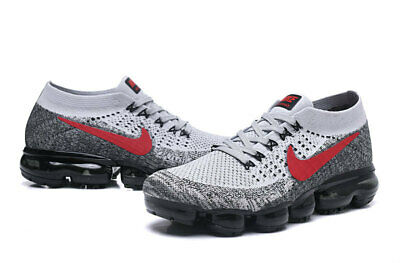 Nike Air VaporMax Be True Flyknit Breathable Platinum Red Grey White  849558-020