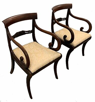 Pair - Antique Early 19C Regency Mahogany Scroll Arm Elbow Carver Klismos Chairs