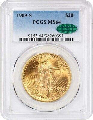 1909-S $20 PCGS/CAC MS64 - Saint Gaudens Double Eagle - Gold Coin