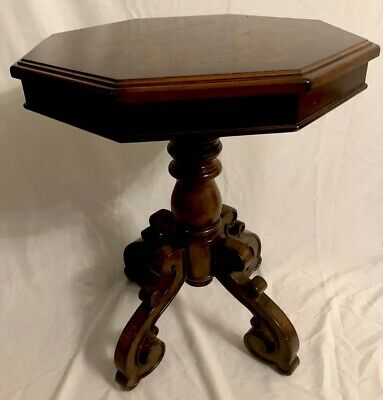 Vintage Regency Style Octagonal Mahogany Marquetry Inlaid Side End Drum Table