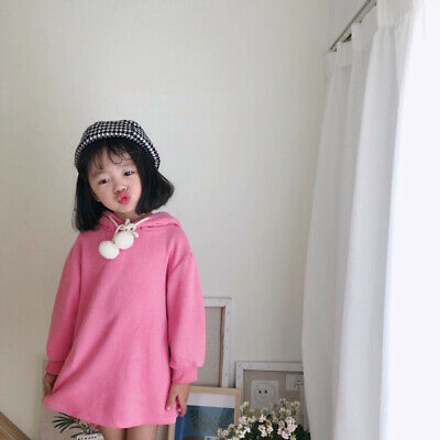Girls autumn dress girl hooded rabbit ears cute long-sleeved dress 3-7 years old