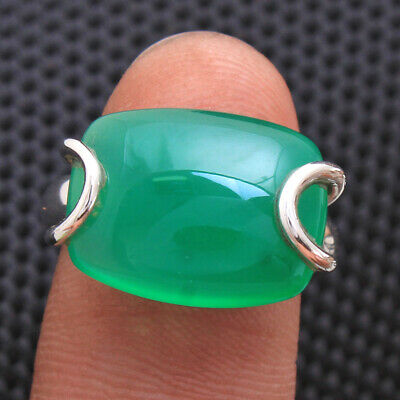GREEN ONYX Gemstone Ring Size 6.25 Solid Sterling Silver HANDMADE Fine Jewelry