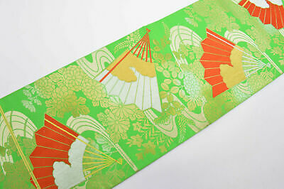 Vintage Japanese Bright Green Orange 'Fans & Flower' Silk Fukuro-Obi For Kimono