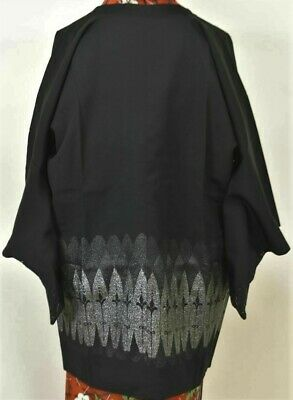 Vintage Japanese Ladies' Black 'Silver Trees' Michiyuke Kimono Coat 10-12 UNUSED