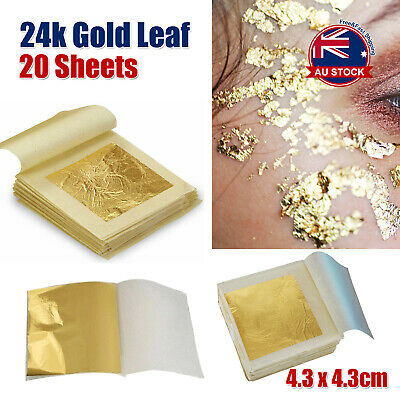 20x Pure 24K Edible Gold Leaf Sheets For Cooking Framing Art Craft Decorating D