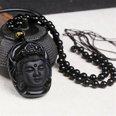 Natural Black Obsidian Guanyin Buddha Head Carved Lucky Amulet Pendant Necklace