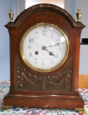 Carved Mahogany French Bracket Clock in Good Working Order